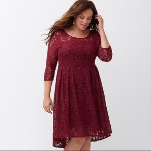 Lane Bryant Illusion Lace Fit and Flare Dress